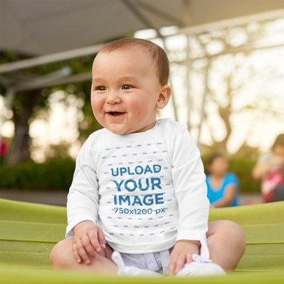 Long Sleeve Tee Mockup of a Baby Boy at a Park 42302-r-el2