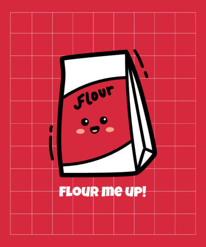 T-Shirt Design Template Featuring a Cartoonish Flour Bag Graphic 3532a-el1
