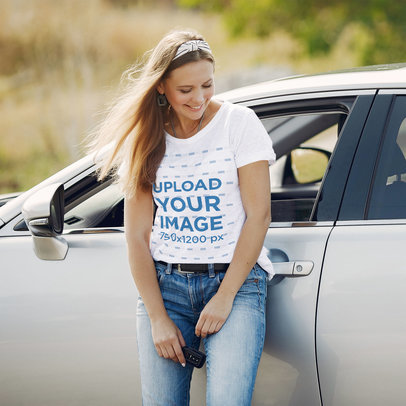 T-Shirt Mockup Featuring a Woman Leaning over a Car 42619-r-el2