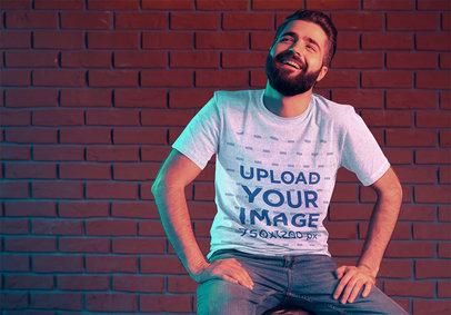 T-Shirt Mockup of a Happy Bearded Man Against a Brick Wall 42668-r-el2