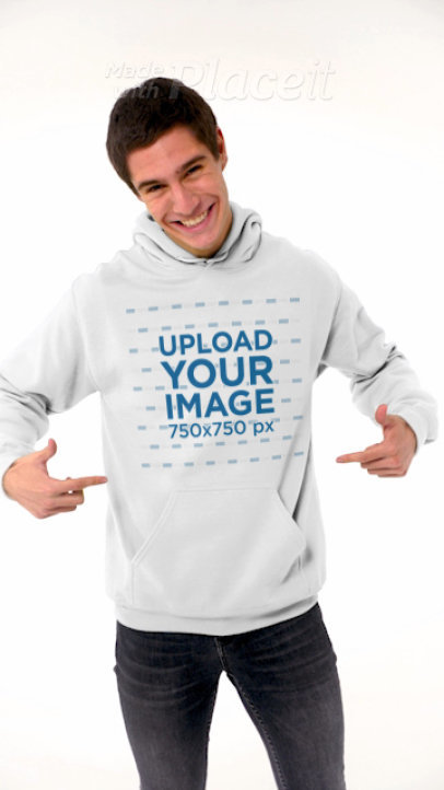 Video of a Happy Man Showing Off His Hoodie 44095a