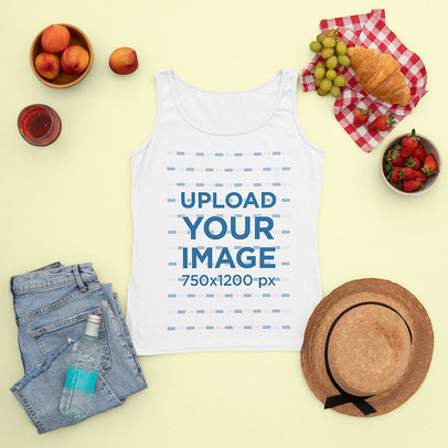 Tank Top Mockup Featuring a Girly Outfit for a Picnic m1667