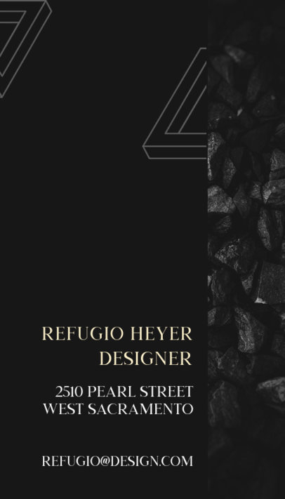 Elegant Vertical Business Card Template for a Designer 312d