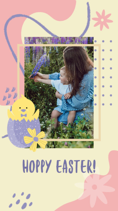 Easter-Themed Instagram Story Design Template Featuring a Cute Chicken Illustration 3389f