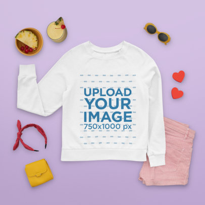 Sweatshirt Mockup Featuring Summer Accessories and a Tropical Cocktail m1660