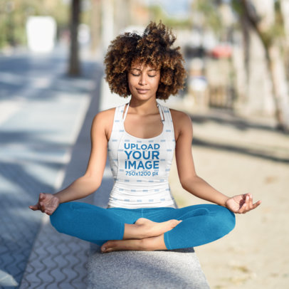 Sublimated Tank Top Mockup of a Woman Doing Urban Yoga 37767-r-el2