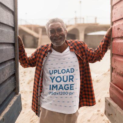 T-Shirt Mockup Featuring a Happy Senior Man with a Beard 40490-r-el2