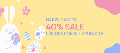 Illustrated Facebook Cover Template for an Easter Special Sale 3388a