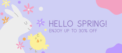 Spring-Themed Facebook Cover Design Generator Featuring a Bunny Clipart 3388e