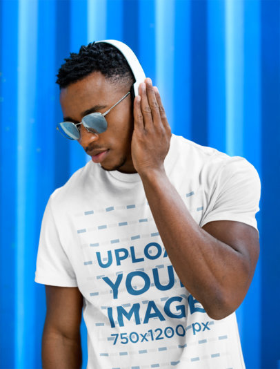 Basic T-Shirt Mockup of a Man With Sunglasses Listening to Music 41410-r-el2