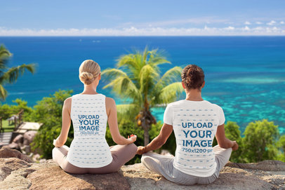 Mockup of a Couple Wearing a Tank Top and a T-Shirt While Meditating by the Ocean 43877-r-el2
