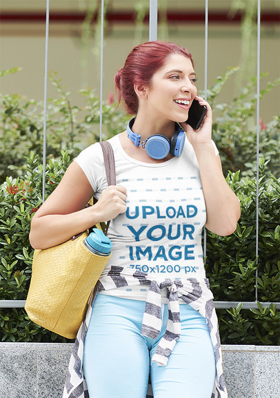 T-Shirt Mockup of a Red-Haired Woman Talking on Her Phone 38227-r-el2