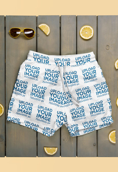 Mockup of a Pair of Swim Trunks on a Pallet 46157-r-el2