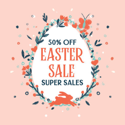 Facebook Post Maker for an Easter Super Sale Featuring Flower Illustrations 3391c