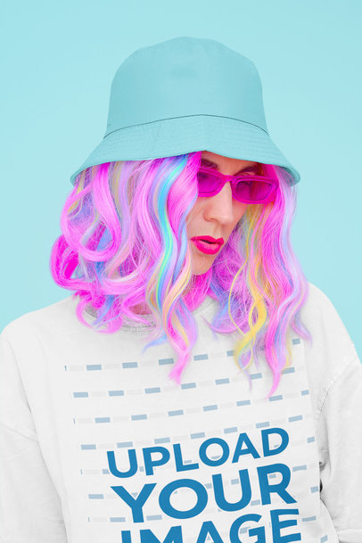 Oversized T-Shirt Mockup of a Colorful Haired Woman at a Studio 43021-r-el2