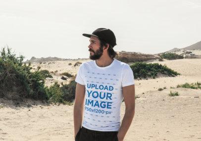 Mockup of a Bearded Man Wearing a T-Shirt Outdoors 45768-r-el2