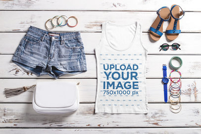 Tank Top Mockup Featuring a Women's Outfit on a Wooden Surface 39757-r-el2