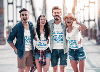 T-Shirt and Tank Top Mockup of a Group of Friends on a Double Date 45281-r-el2
