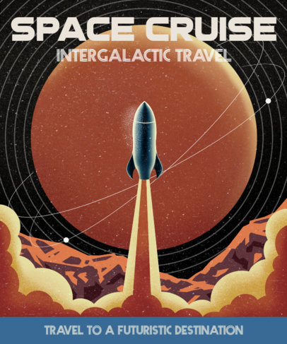 T-Shirt Design Template with a Retro Space Cruise Illustration 3379d