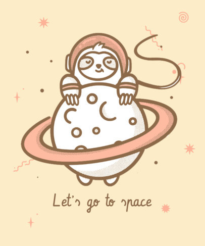 T-Shirt Design Template Featuring an Illustration of a Sloth in Space 3381e
