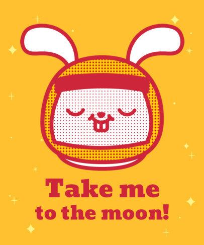 T-Shirt Design Template Featuring a Cute Rabbit With an Astronaut Helmet 3381b
