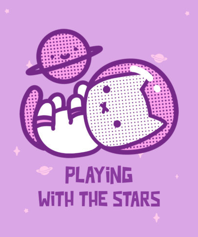 T-Shirt Design Template Featuring an Astronaut Cat and a Planet 3381h