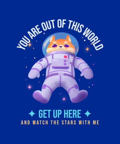 T-Shirt Design Maker with an Illustration of an Astronaut Dog 3382e