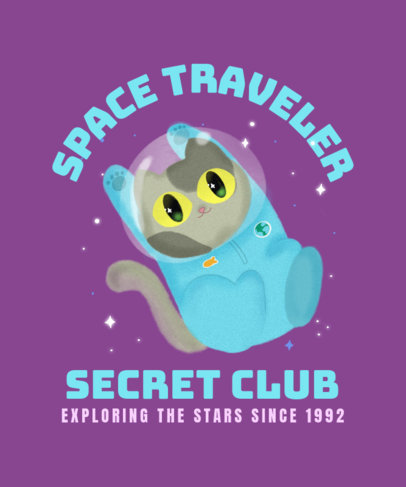 Pets T-Shirt Design Maker Featuring a Cat Traveling Through Space  3382i