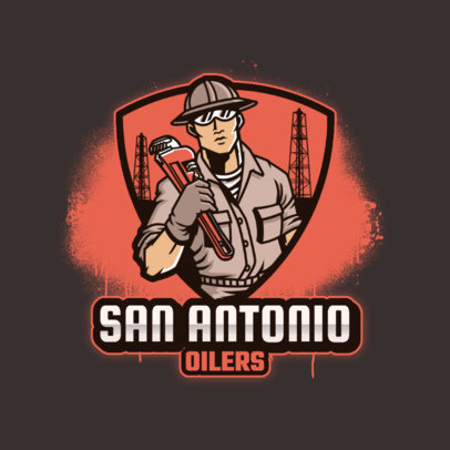 Cool Sports Team Logo Template With an Oil Worker Illustration 4060i