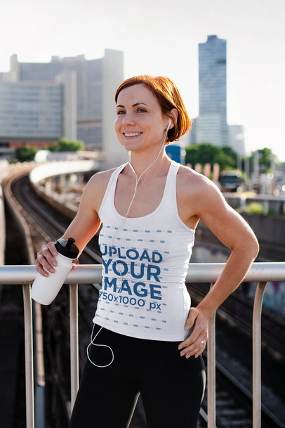 Tank Top Mockup of a Female Jogger in the City 37722-r-el2