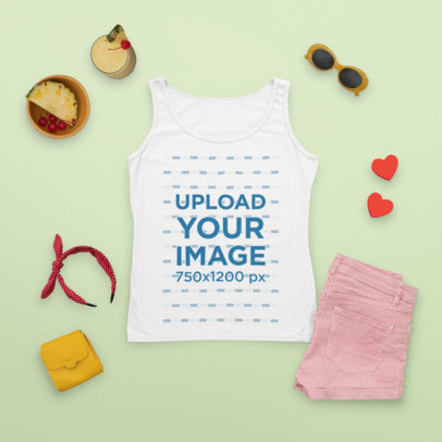 Tank Top Mockup Featuring a Fresh Spring Outfit and a Glass with Pina Colada m1659