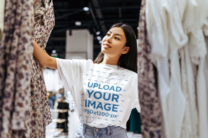 T-Shirt Mockup of a Woman Shopping for Clothes 44394-r-el2