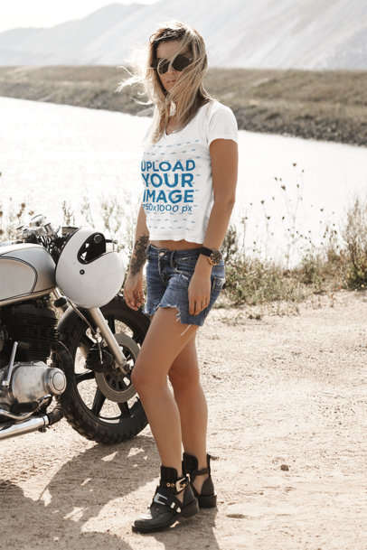 T-Shirt Mockup of a Biker Posing with Her Motorcycle 41701-r-el2