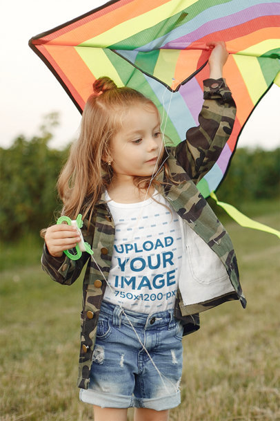 Tank Top Mockup of a Little Girl Flying a Colorful Kite 39535-r-el2