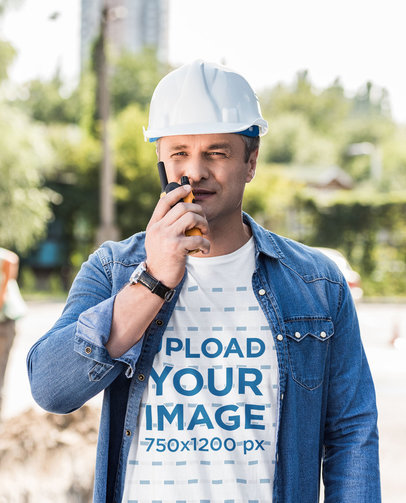 T-Shirt Mockup of a Construction Worker on-Site 45905-r-el2
