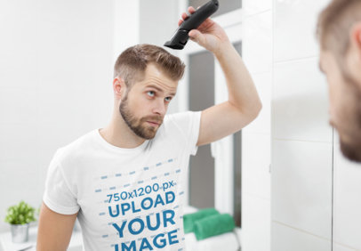 T-Shirt Mockup of a Man Cutting His Own Hair in the Mirror 46467-r-el2
