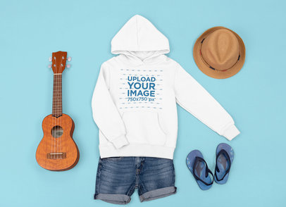 Hoodie Mockup Featuring a Girl's Outfit and a Ukulele m1296
