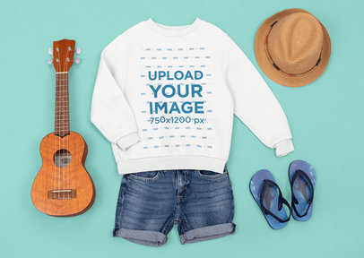 Sweatshirt Mockup Featuring a Beach Outfit and a Ukelele M1289