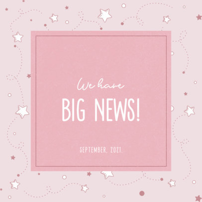 Facebook Post Maker for a Modern Pregnancy Reveal with Star Graphics 3397d