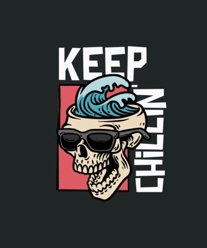 T-Shirt Design Template with Cool Skull Graphics 3553-el1