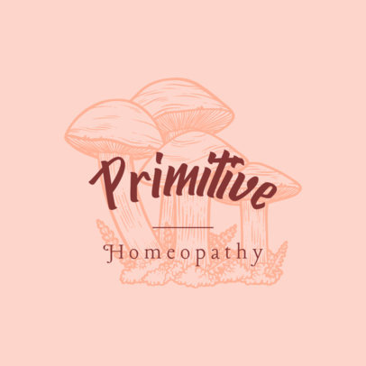 Logo Template for Homeopathy Products with Engraved Mushrooms 3931d