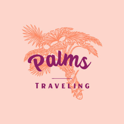 Travel Agency Logo Maker Featuring an Engraved Palm 3931j