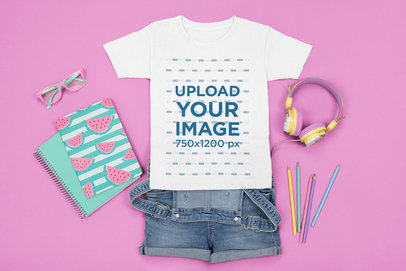 Mockup of a T-Shirt Surrounded by Girly School Supplies m1256