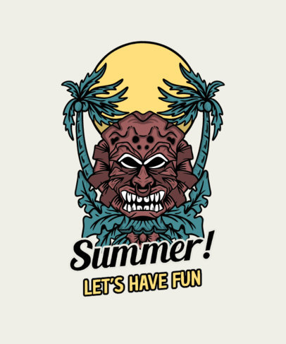 T-Shirt Design Template Featuring Illustrations with a Cool Summer Vibe 3535-el1