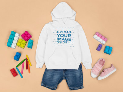 Kids' Hoodie Mockup Featuring a Playful Girly Outfit m1284