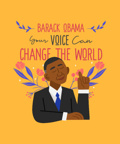 Black History Month T-Shirt Design Creator with a Caricature of Obama 3410b