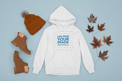 Pullover Hoodie Mockup Featuring an Autumn Outfit m1272