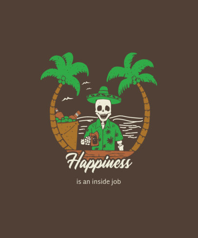 Illustrated T-Shirt Design Generator Featuring a Skeleton at a Beach Bar 3559a-el1