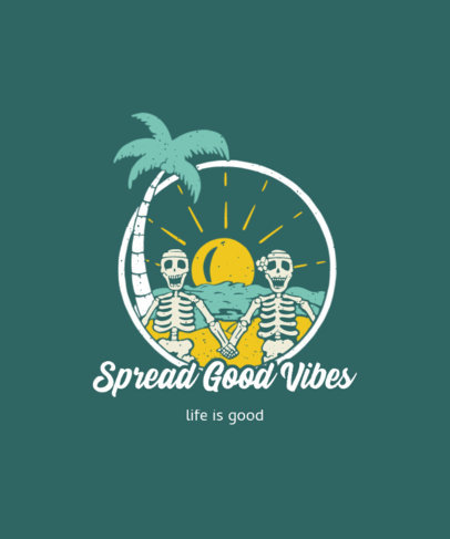 T-Shirt Design Maker Featuring Two Happy Skeletons at the Beach 3559c-el1