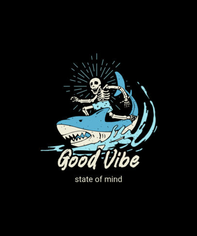 T-Shirt Design Generator Featuring an Illustration of a Skeleton and a Shark 3559d-el1